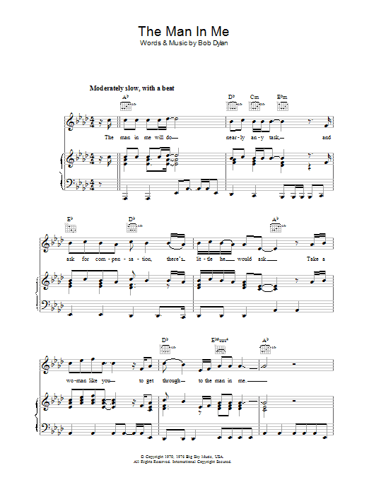 The Man In Me Sheet Music