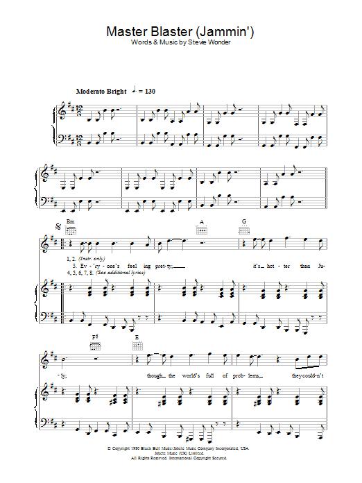 Master Blaster (Jammin') (Piano, Vocal & Guitar)