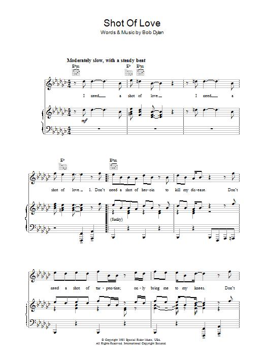 Shot Of Love (Piano, Vocal & Guitar)