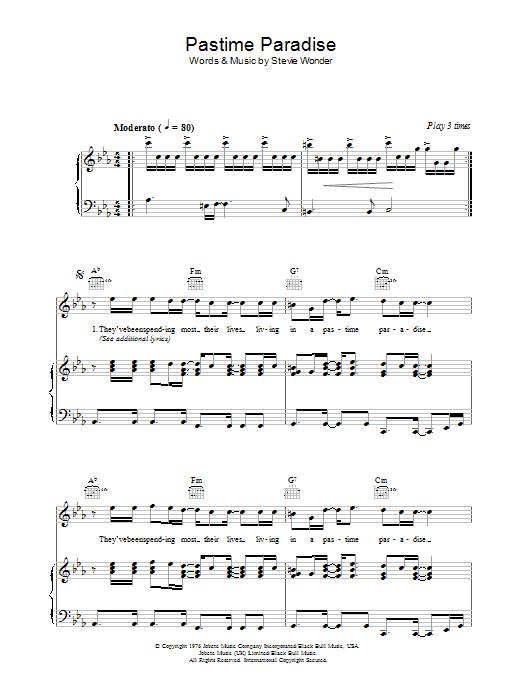 Pastime Paradise (Piano, Vocal & Guitar)