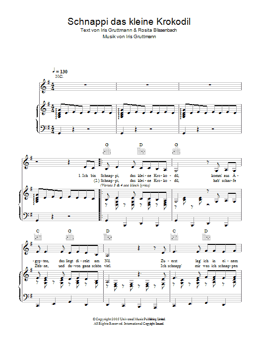 Schnappi das kleine Krokodil (Piano, Vocal & Guitar)
