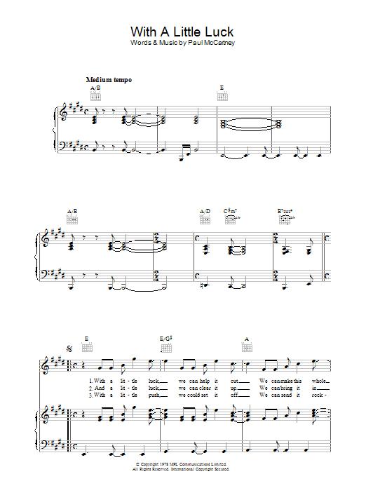 With A Little Luck Sheet Music