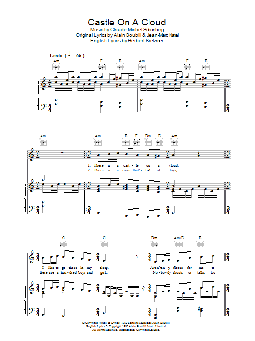 Castle On A Cloud Sheet Music