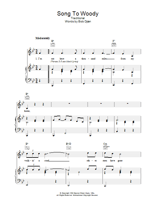 Song To Woody (Piano, Vocal & Guitar)