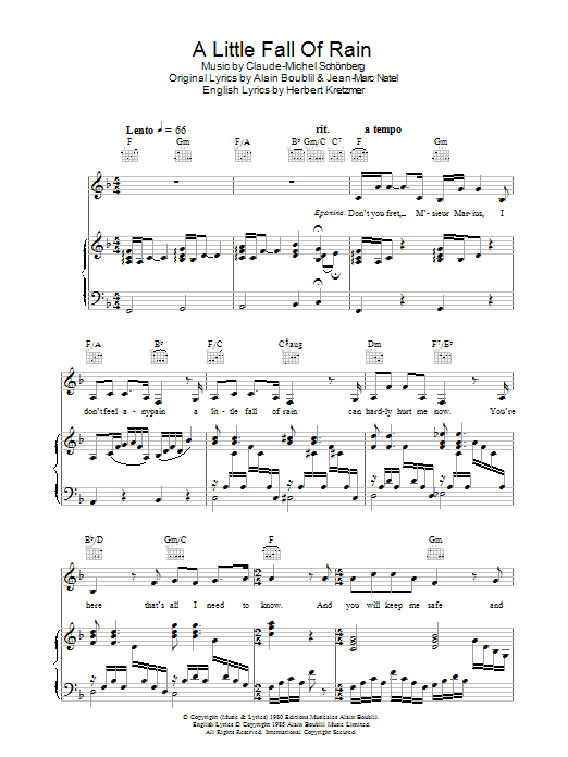 A Little Fall Of Rain (Piano, Vocal & Guitar)