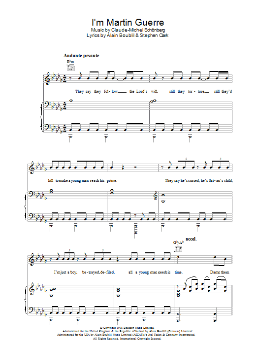 I'm Martin Guerre (from Martin Guerre) Sheet Music