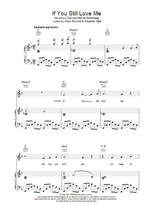 If You Still Love Me (from Martin Guerre) Sheet Music