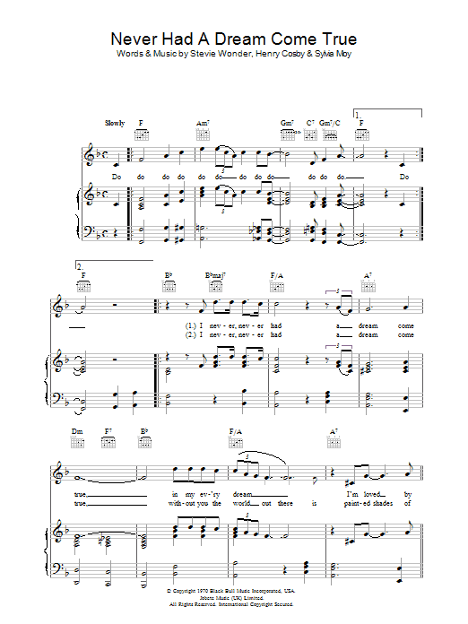 Never Had A Dream Come True | Sheet Music Direct