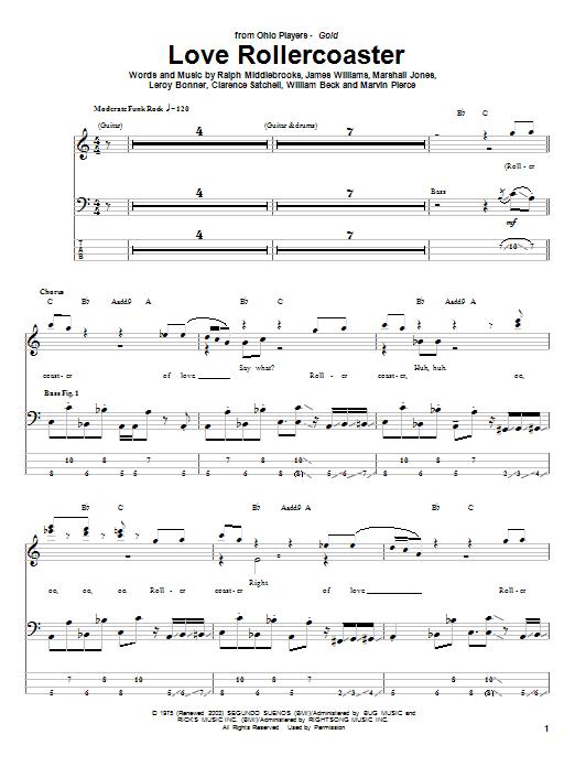 Tablature guitare Love Rollercoaster de Ohio Players - Tablature Basse