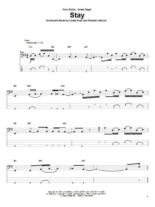 Tablature guitare Stay de Rufus - Tablature Basse