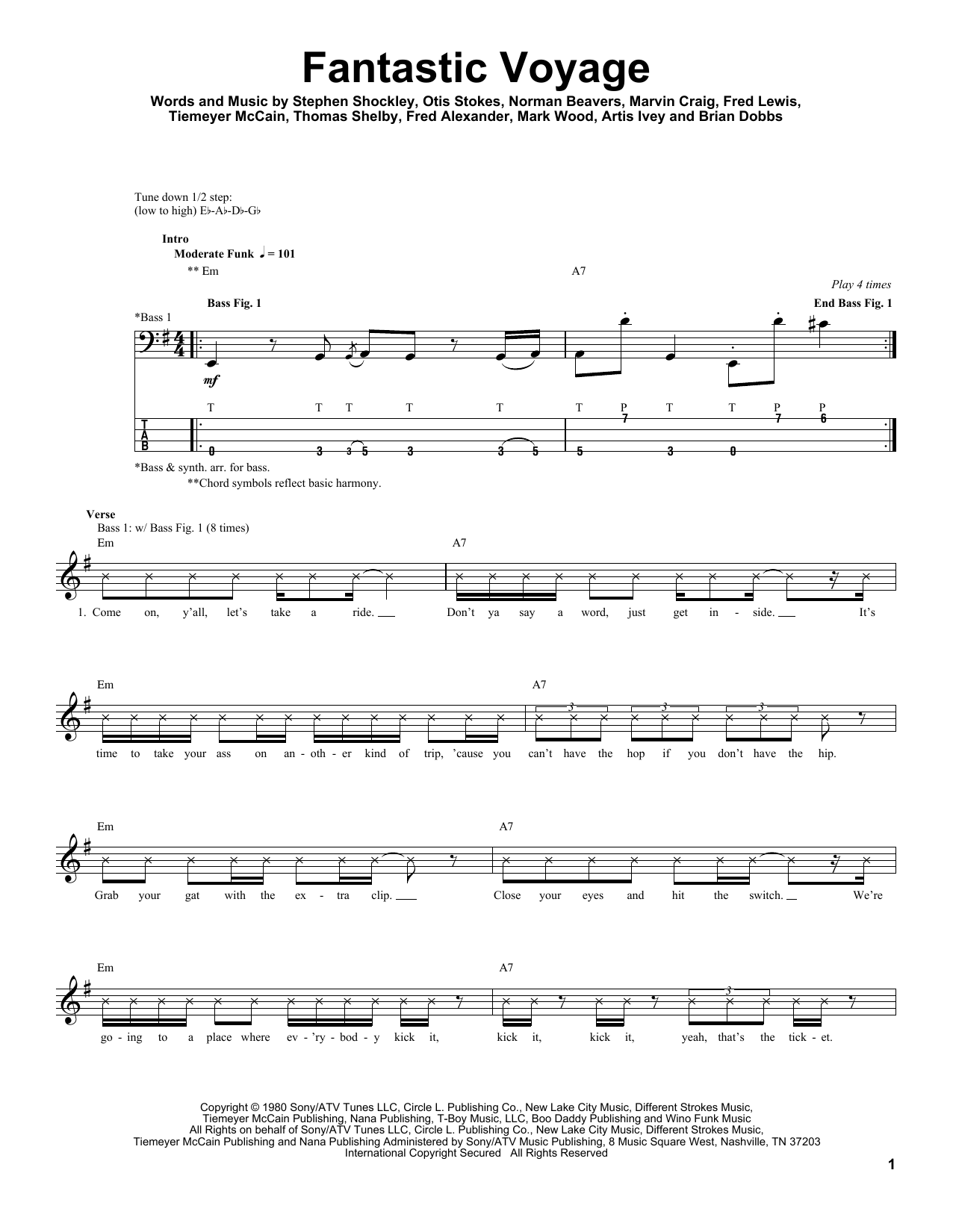 Fantastic Voyage by Coolio - Bass Tab - Guitar Instructor