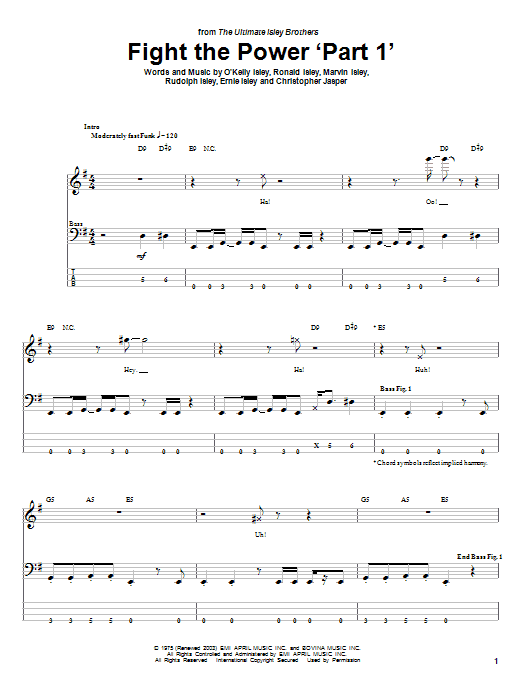 Fight The Power 'Part 1' Sheet Music