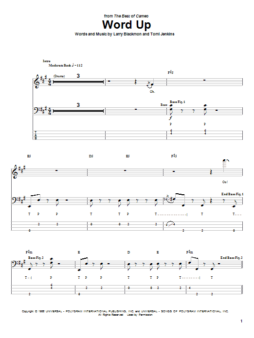 Tablature guitare Word Up de Cameo - Tablature Basse
