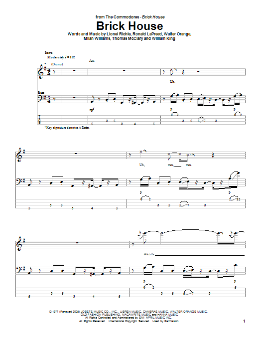 Tablature guitare Brick House de The Commodores - Tablature Basse