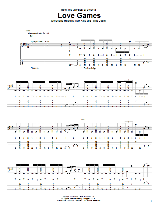 Love Games (Bass Guitar Tab)