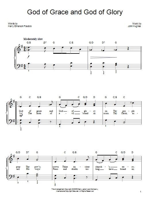 God Of Grace And God Of Glory Sheet Music