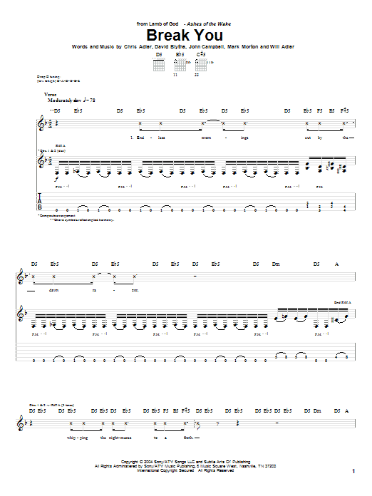 Tablature guitare Break You de Lamb of God - Tablature Guitare