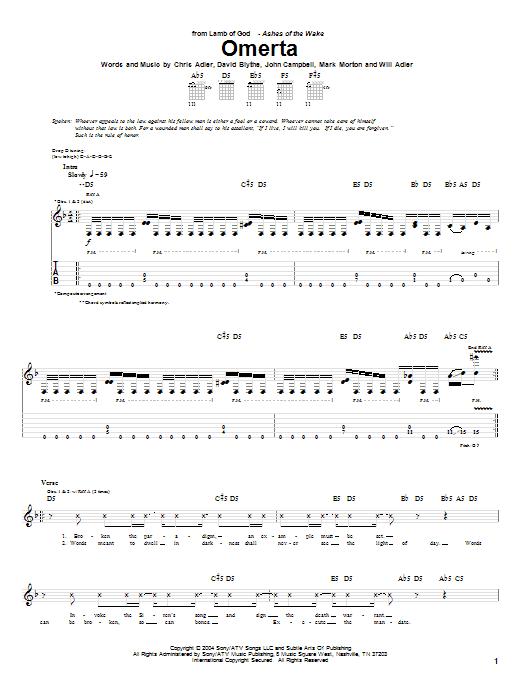 Omerta Sheet Music