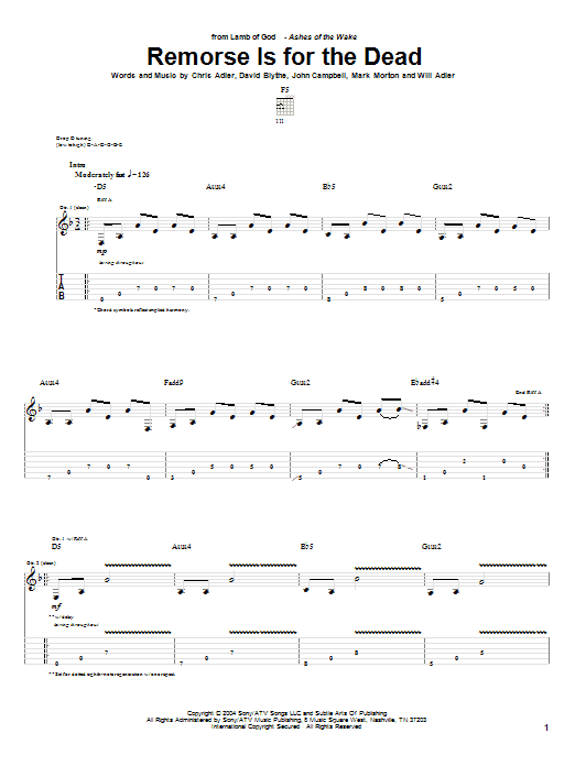 Remorse Is For The Dead (Guitar Tab)
