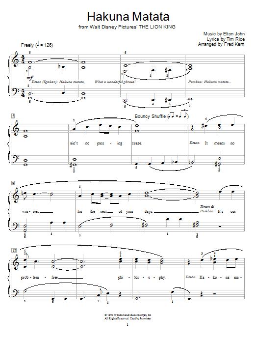 Partition piano Hakuna Matata (from The Lion King) de Elton John - Autre