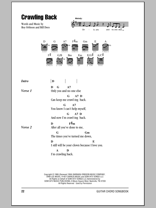Crawling Back Sheet Music