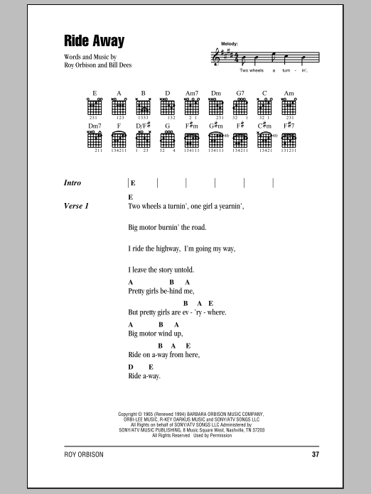 Ride Away Sheet Music