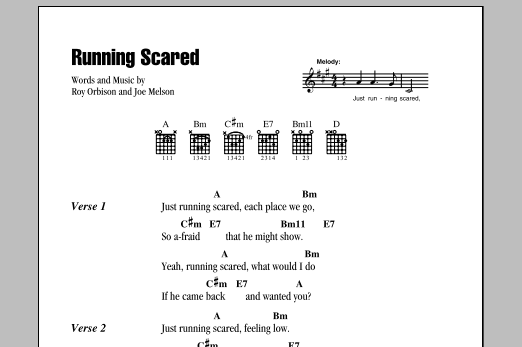 Running Scared Sheet Music