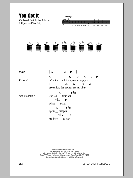 You Got It by Roy Orbison - Guitar Chords/Lyrics - Guitar Instructor