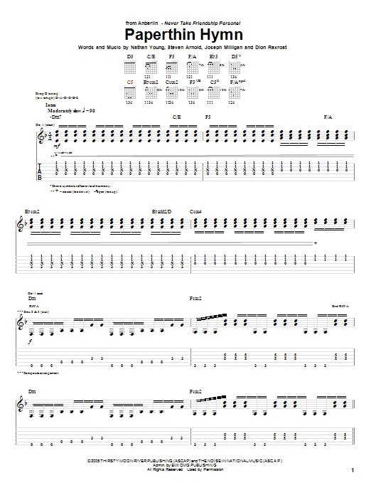 Paperthin Hymn Sheet Music