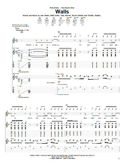Walls Sheet Music
