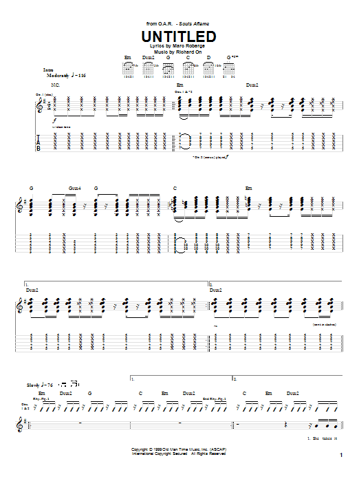 Tablature guitare Untitled de O.A.R. - Tablature Guitare