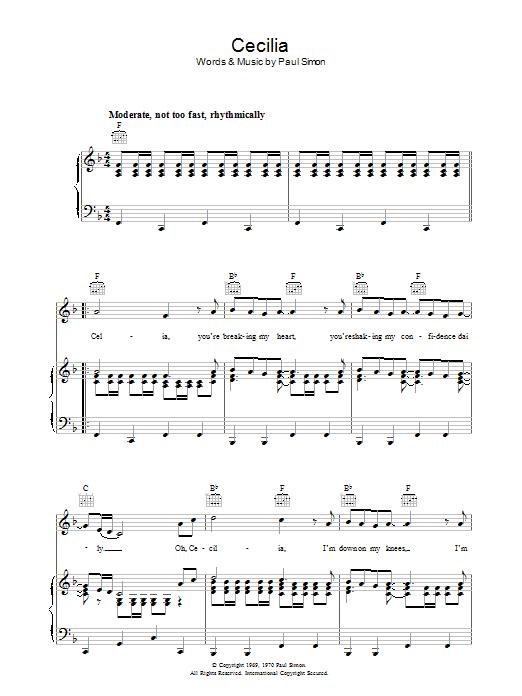 Cecilia Sheet Music Simon Garfunkel Piano Vocal Guitar