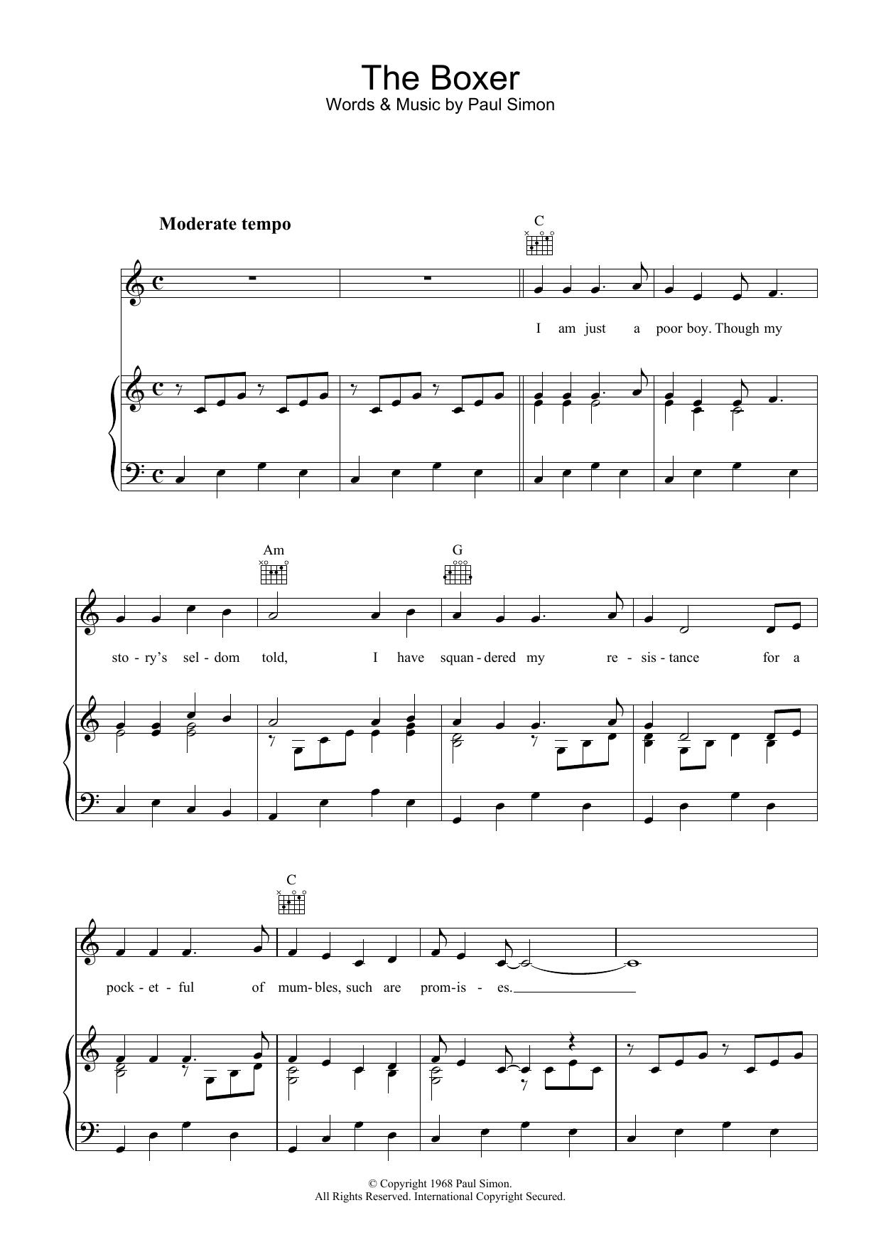 The Boxer (Piano, Vocal & Guitar)