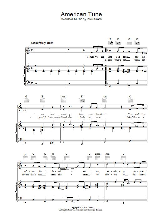 American Tune Sheet Music | Paul Simon | Piano, Vocal & Guitar ...