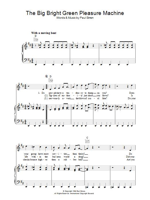 The Big Bright Green Pleasure Machine (Piano, Vocal & Guitar)