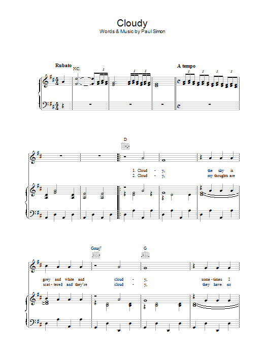 Cloudy (Piano, Vocal & Guitar)
