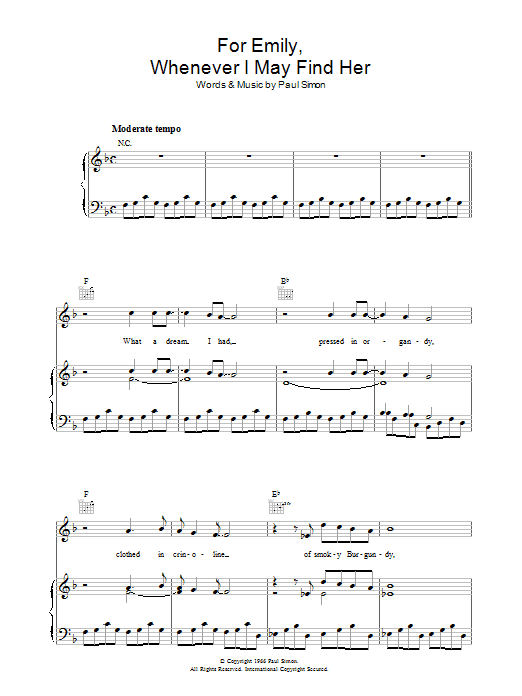 For Emily, Whenever I May Find Her (Piano, Vocal & Guitar)