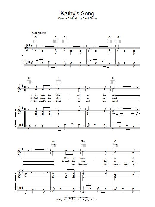 Kathy's Song (Piano, Vocal & Guitar)