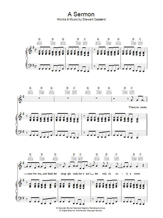 A Sermon (Piano, Vocal & Guitar)