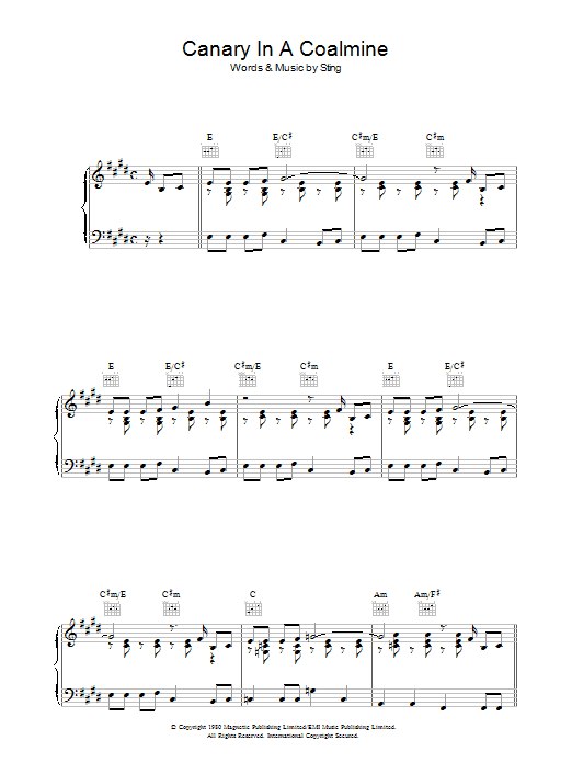 Canary In A Coalmine (Piano, Vocal & Guitar)