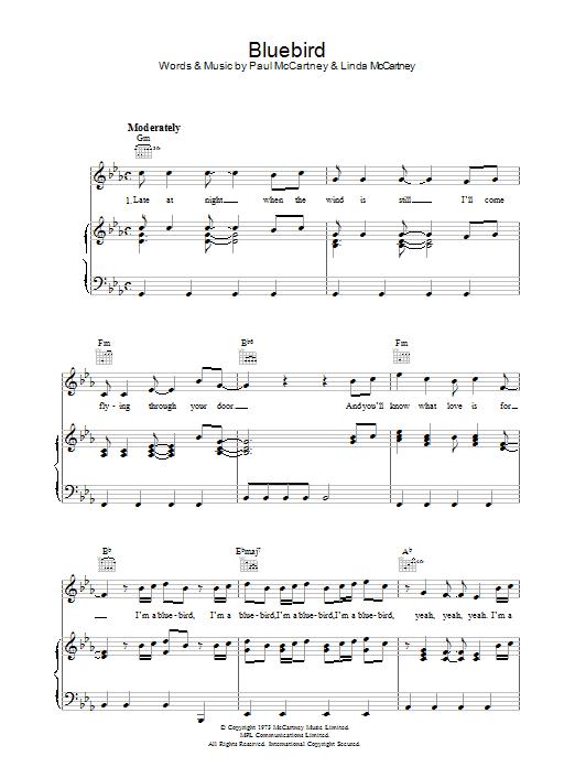 Bluebird Paul Mccartney Piano Vocal Guitar Right Hand Melody