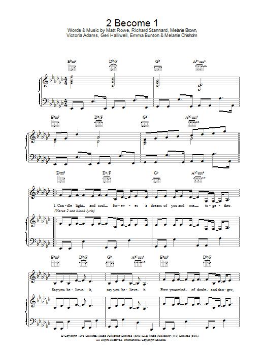 Download 2 become 1 sheet music by matt rowe sheet music plus.