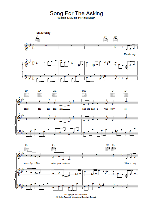 Song For The Asking (Piano, Vocal & Guitar)