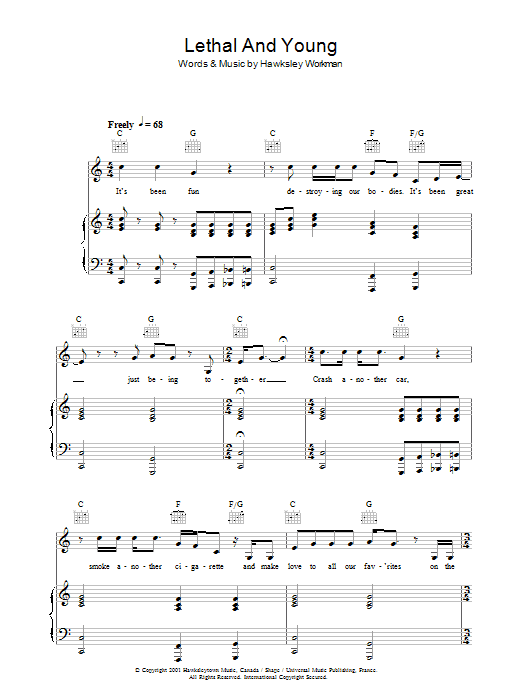 Lethal And Young Sheet Music
