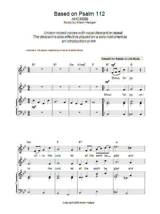 Based On Psalm 112 Sheet Music