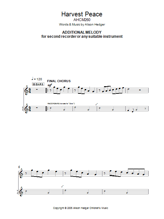 Harvest Peace (Additional Melody Part) Sheet Music