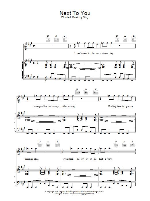 Next To You (Piano, Vocal & Guitar)