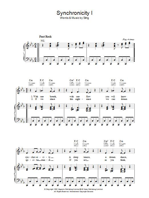 Synchronicity I Sheet Music