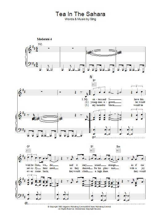 Tea In The Sahara (Piano, Vocal & Guitar)