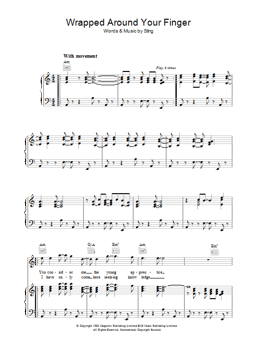 Wrapped Around Your Finger (Piano, Vocal & Guitar)